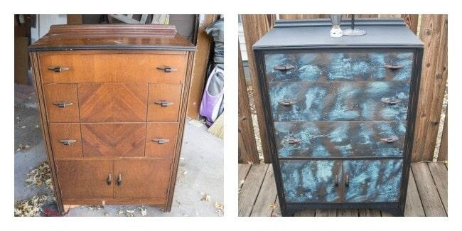 Patina Dresser Makeover-before-after