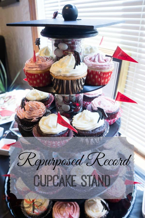 Repurposed Record Cupcake Stand! ~- Designed Decor