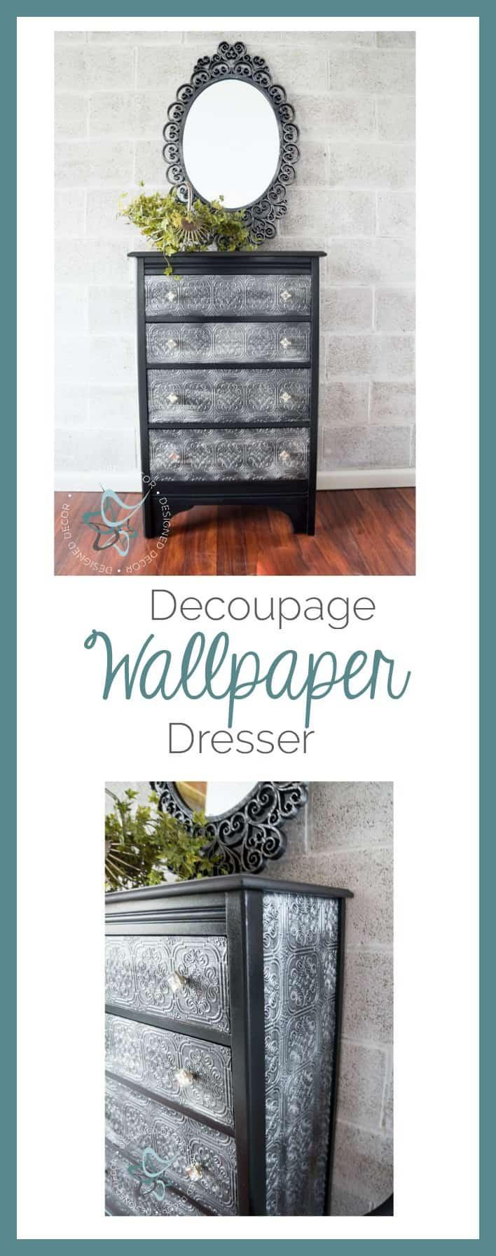 decoupage wallpaper dresser