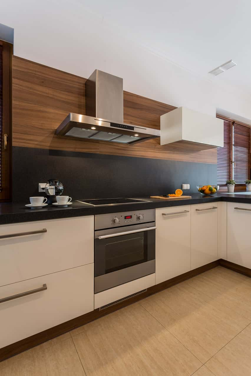 small kitchen design ideas small kitchen white cabinets Small kitchen modern home white cabinets black backsplash