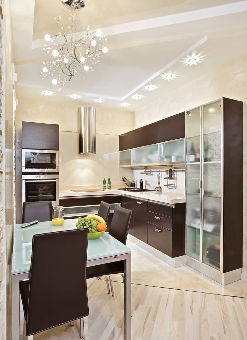 small kitchen design ideas small kitchen designs Small kitchen modern style with glass and wood cabinets