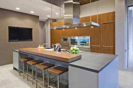 modern design kitchen island with bar stools