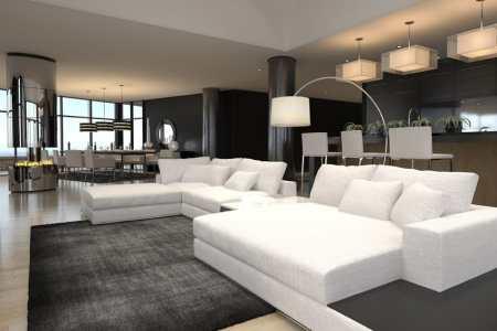 black white furnished modern living room