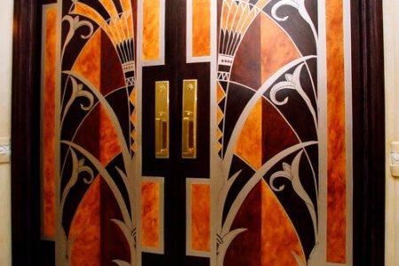 art deco hand painted door