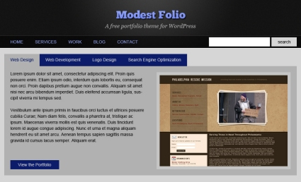 ModestFolio, WordPress theme and Photoshop Tutorial