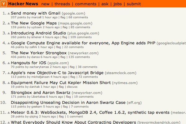 hacker news frontpage design startups information