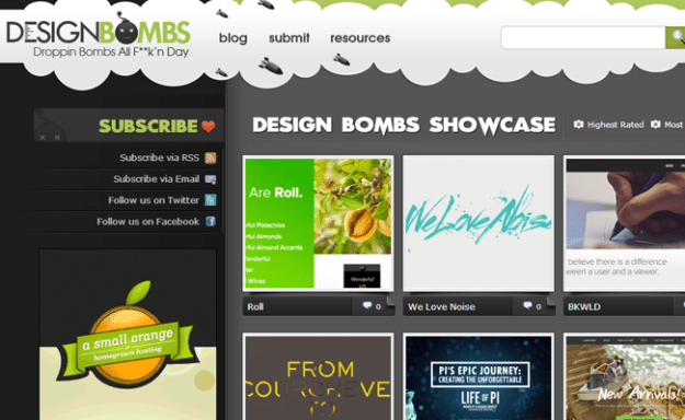 css inspiration gallery designbombs homepage