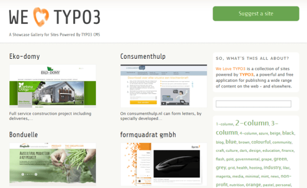typo3 cms gallery inspiration web design