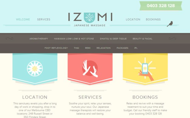 izumi massage web site wordpress layout