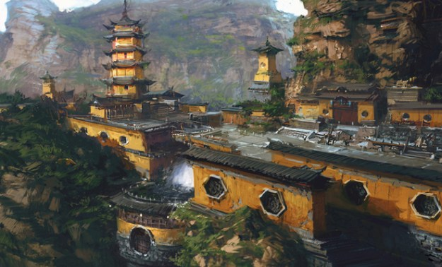 jinshan temple photoshop illustration landscape