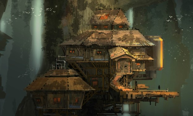 2d illustration architecture scenery woods treehouse