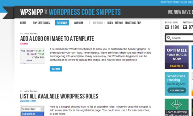 wp snipp wordpress snippets website code freebies