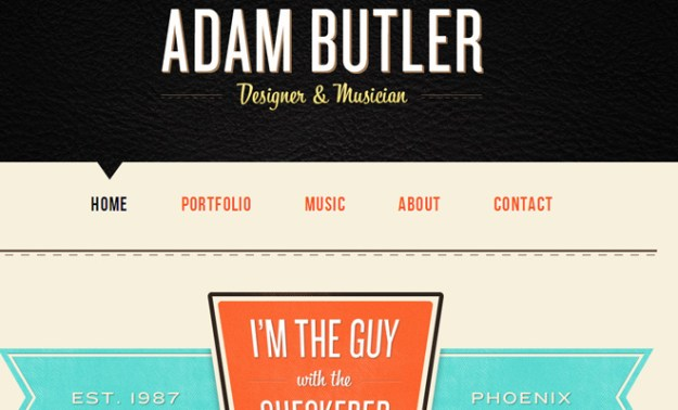 adam clayton butler website portfolio layout