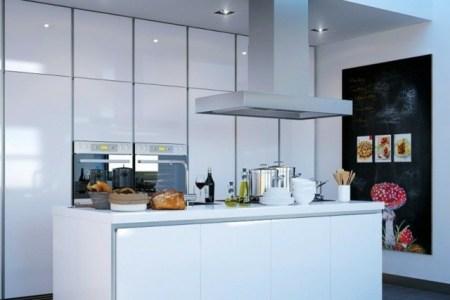 ilot central cuisine design moderne evier integre blanc