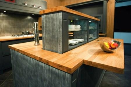 ilot central de cuisine en bois evier