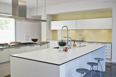 idee cuisine avec ilot central design blanc evier deco