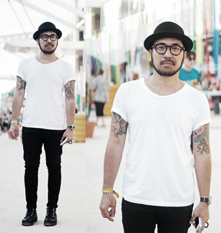 mode tendance homme chapeau idée pantalon noir t-shirt lunettes