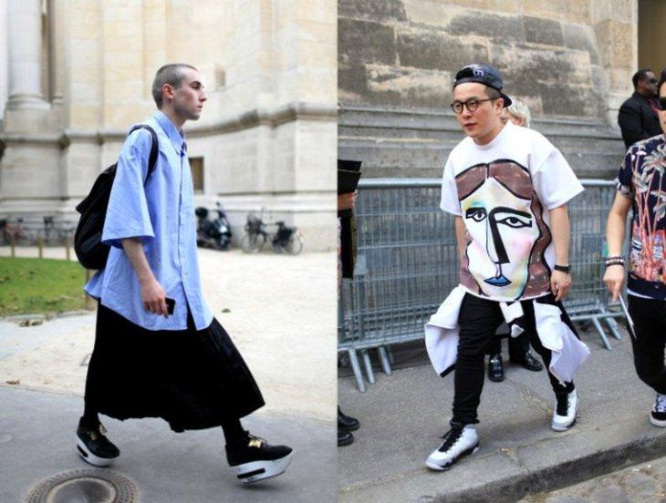 mode homme tendance t-shirt blanc pantalon noir