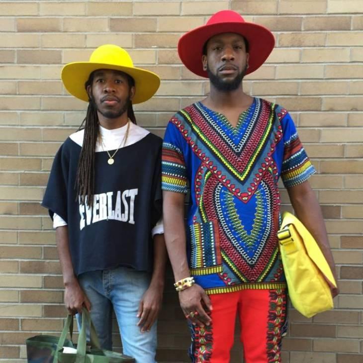 tendance mode chapeau jaune rouge t-shirt tendance pantalon