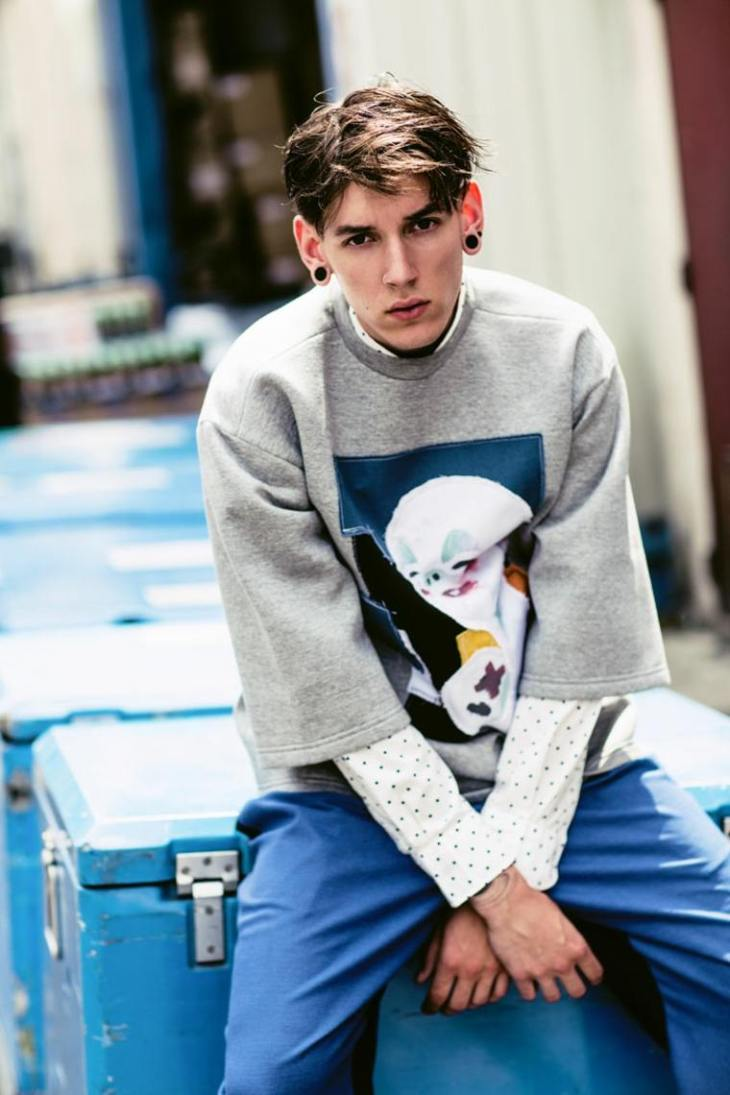 tendance homme mode 2016 printemps été pantalon bleu sweat