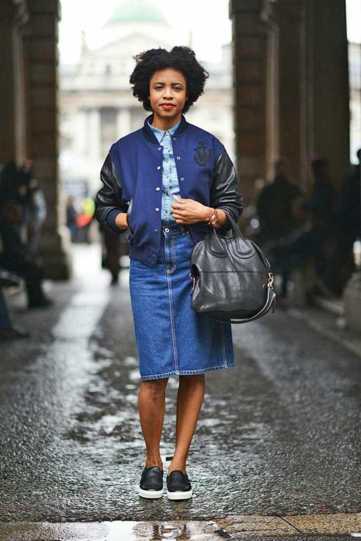 blouson aviateur bomber veste de baseball jupe deni, london fashion week sac