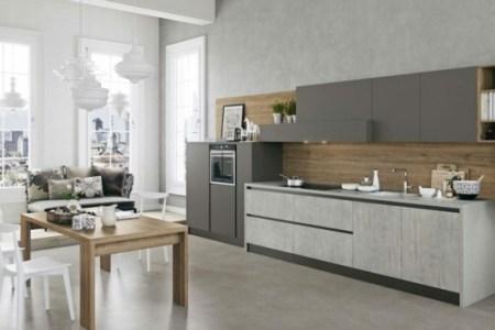 pe placard cuisine lineaire couleur gris parement bois credence plaque