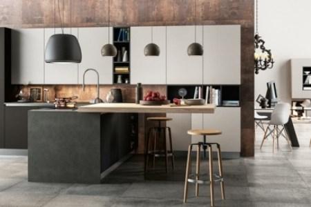 placard cuisine noire et blanche ilot peninsule design moderne