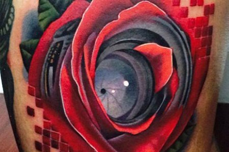 awesome rose tattoo design by andres acosta