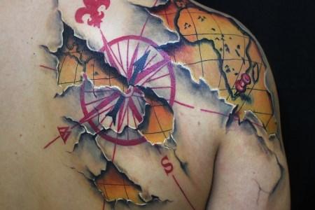 3d map tattoo design