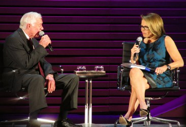 image of Former President Jimmy Carter and Katy Couric at the Women in the World summit in April 2014