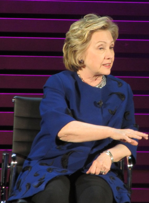 image of Hillary Clinton at the Women in the World summit in April 2014