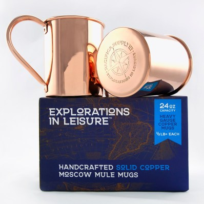 explorations in leisure copper mule mugs and packaging