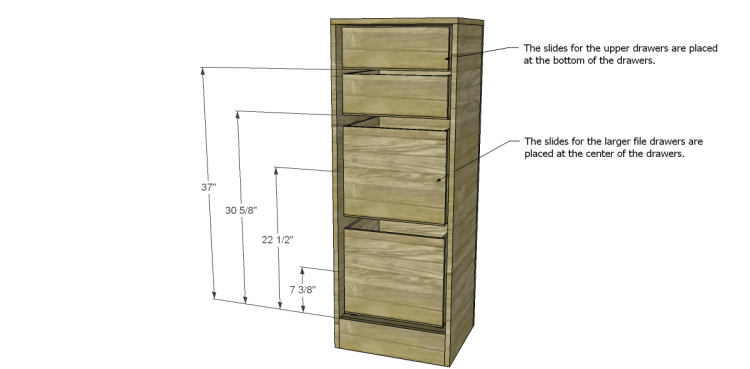 Free Furniture Plans to Build a File Cabinet_Drawer Slide Placement