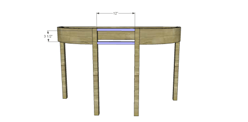 Free Plans to Build a Demilune Console Table_Front Stretchers