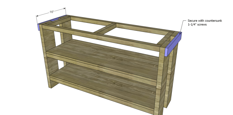 free plans to build a Hammary inspired Luberon console table_Outer Stretchers
