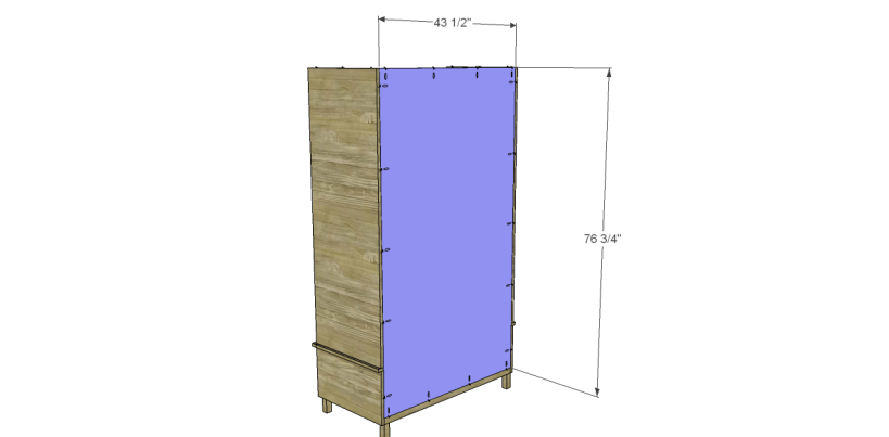 free DIY woodworking plans to build a large armoire_Back