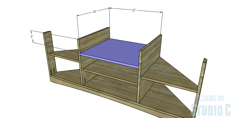 DIY Plans to Build a Rushton Media Stand_Upper Center Shelf