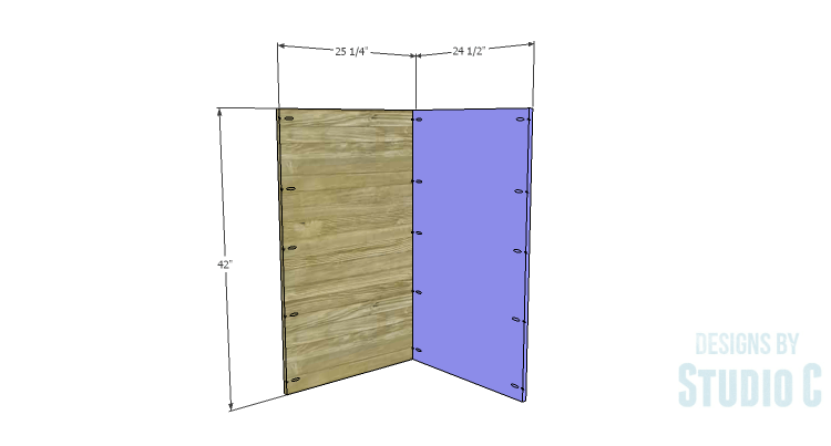 DIY Plans to Build a Tall Diagonal Face Upper Corner Cabinet_Back