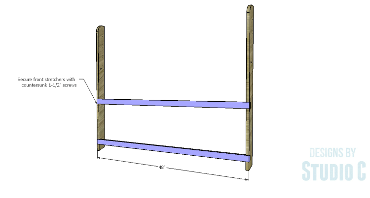 DIY Plans to Build a Folding Bench_Front Stretchers