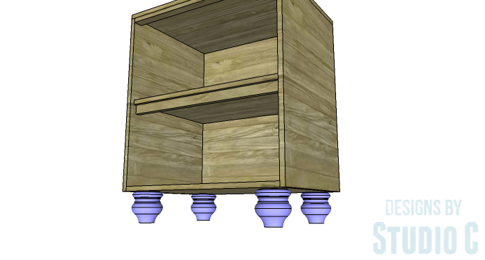 DIY Furniture Plans to Build a Swivel Top Media Cabinet-Feet