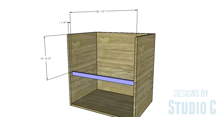 DIY Furniture Plans to Build a Swivel Top Media Cabinet-Middle Stretcher