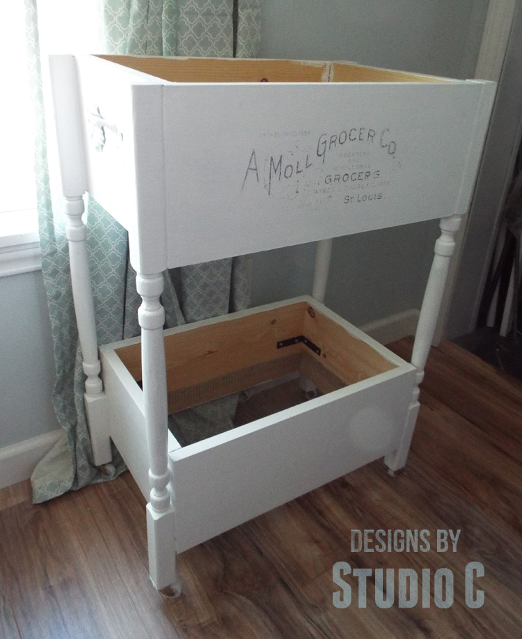 DIY Furniture Plans to Build a Fruit and Vegetable Bin - Quarter View