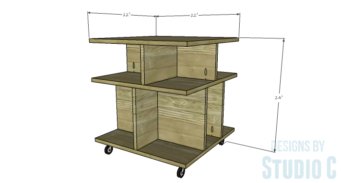 DIY Furniture Plans to Build a Mod Storage Table on Casters