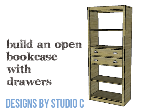 DIY Furniture Plans to Build an Open Bookcase with Drawers - Copy