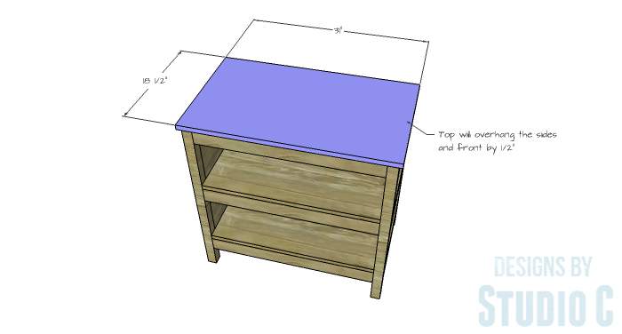 DIY Furniture Plans to Build an Open Shelf Sideboard - Top
