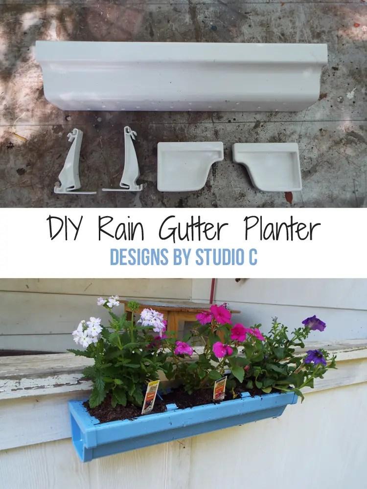 DIY Rain Gutter Planter - Pinnable Image