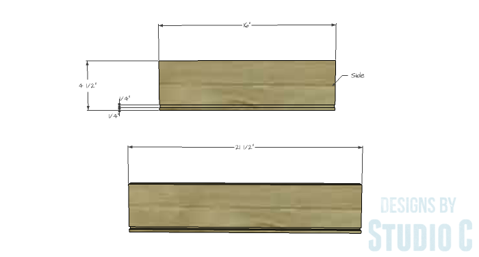 DIY Furniture Plans to Build a Dresser with Side Storage - Drawer 1