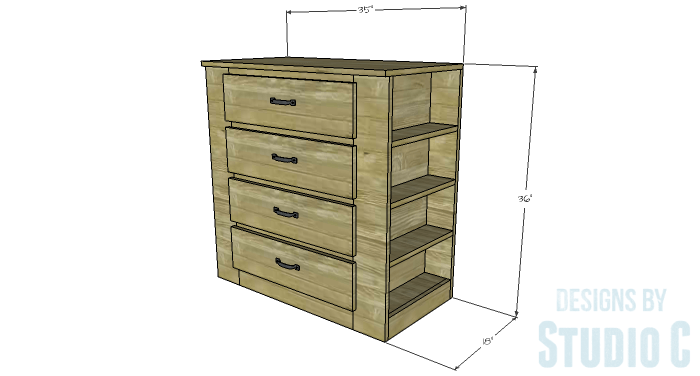 DIY Furniture Plans to Build a Dresser with Side Storage