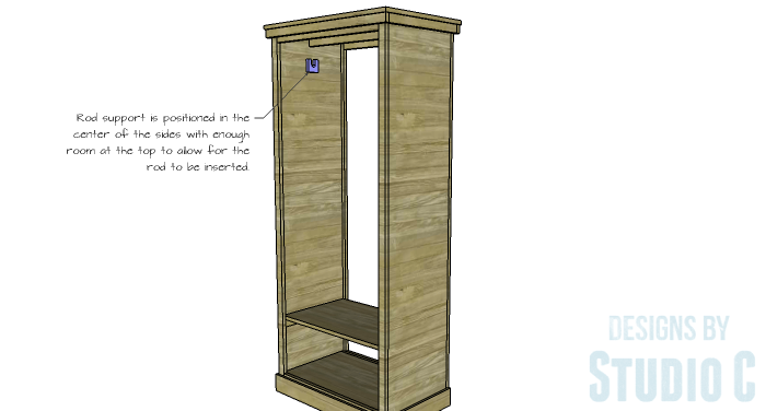 DIY Furniture Plans to Build a Freestanding Open Clothes Wardrobe - Clothes Rod Support 2