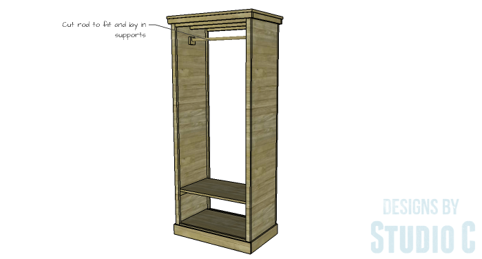 DIY Furniture Plans to Build a Freestanding Open Clothes Wardrobe - Clothes Rod